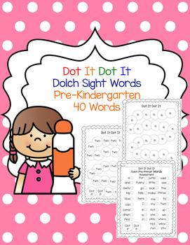 Dolch Pre-Primer 40 Word Dot it Dot it