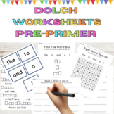 Sight Word Worksheets Dolch Pre-Primer High Frequency Word