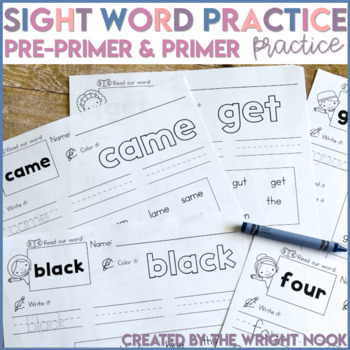 Sight Words - Dolch Pre-Primer AND Primer Word List Practice