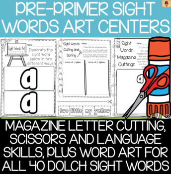 Dolch Pre-Primer Sight Words Art and Scissors Practice Pages