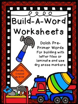 Dolch Pre-Primer Build-A-Word Worksheets