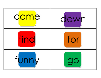 Dolch Pre Primer Candy Land Sight Words