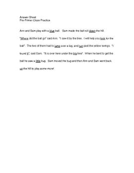 Dolch Pre-Primer Cloze story practice