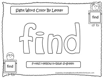 Dolch Pre-Primer Color by Letter worksheets.  Preschool sight word activity.