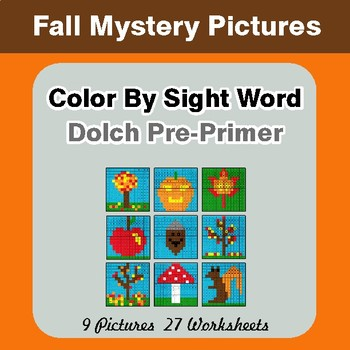 Dolch Pre-Primer: Color by Sight Word - Autumn (Fall) Mystery Pictures