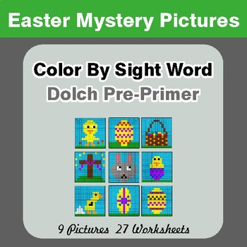 Dolch Pre-Primer: Color by Sight Word - Easter Mystery Pictures