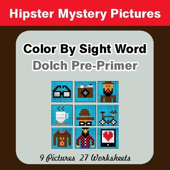 Dolch Pre-Primer: Color by Sight Word - Hipsters Mystery Pictures