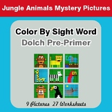 Dolch Pre-Primer: Color by Sight Word - Jungle Animals Mystery Pictures