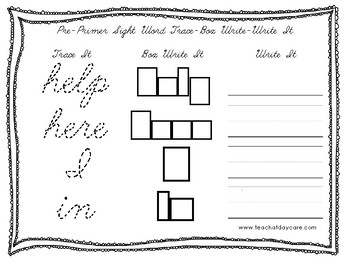 Dolch Pre-Primer Cursive Trace, Box Write, Write worksheets. PreK-2nd Grade.