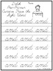 Dolch Pre-Primer Cursive Trace the Word Printable Worksheets. PreK-2nd grade.