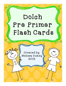 Dolch Pre Primer Flash Cards