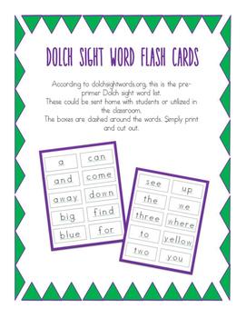 Dolch Pre-Primer Flash Cards