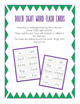 Dolch Pre-Primer Flash Cards