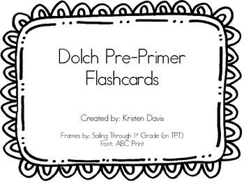 Dolch Pre-Primer Flashcards