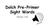 Dolch Pre-Primer Google Digital Flashcards with AUDIO