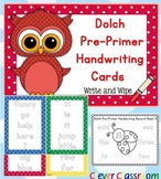 Dolch Pre-Primer Handwriting Cards Center with Record Sheets - 16 pages