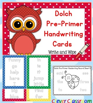 Dolch Pre-Primer Handwriting Cards Center with Record Shee