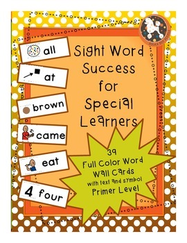 PRIMER Level Dolch Sight Words...39 Word Wall Cards and Flashcards, Boardmaker