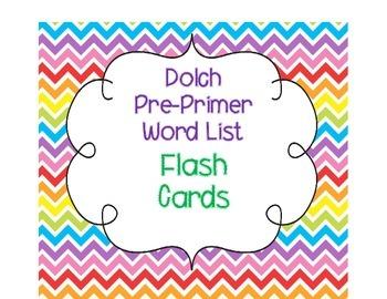 Dolch Pre-Primer List Flash Cards
