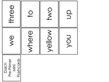 Dolch Pre-Primer Miniature Flash Cards.  Preschool Sight Word Flash Cards.