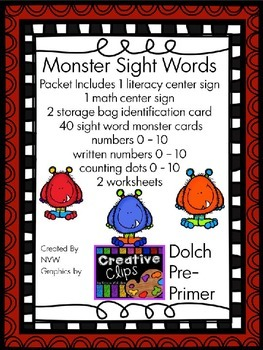 Dolch Pre-Primer Monster Sight Word and Number Activities and Worksheets