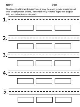 Dolch Pre-Primer Sight Vocabulary Sentence Activity