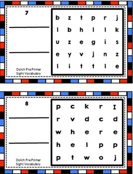Dolch Pre-Primer Sight Vocabulary Word Search Sliders