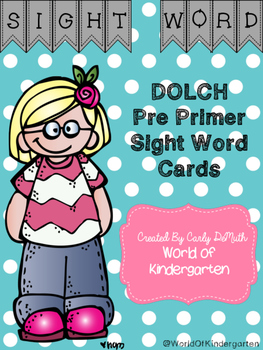 Dolch Pre Primer Sight Word Cards
