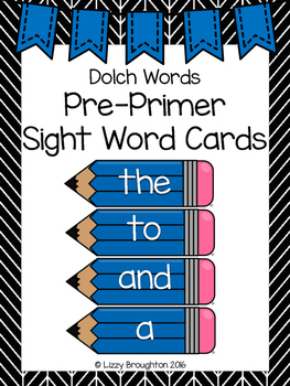 Dolch Pre Primer Word Wall Sight Word Cards- Blue