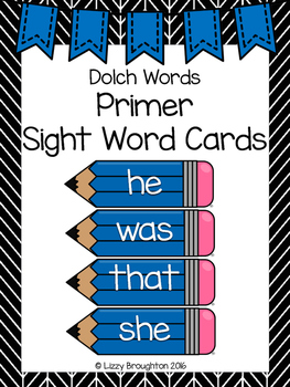 Dolch Primer Word Wall Sight Word Cards- Blue