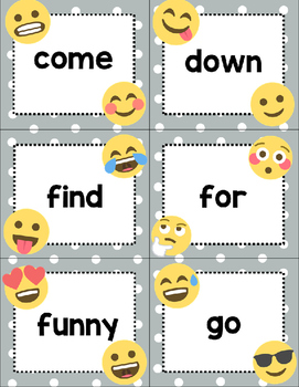 Dolch Pre Primer Sight Word Cards- Emoji Theme