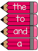 Dolch Pre Primer Word Wall Sight Word Cards- Pink