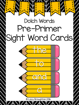 Dolch Pre Primer Word Wall Sight Word Cards- Yellow