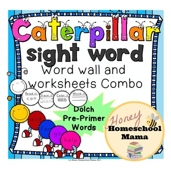 Dolch Pre-Primer Sight Word Caterpillar Combo Pack with Word Wall and Worksheets