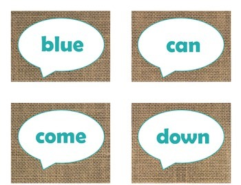 Dolch Pre-Primer Sight Word Flash Cards (Burlap and Turquoise)