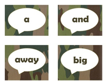 Dolch Pre-Primer Sight Word Flash Cards (Camo)