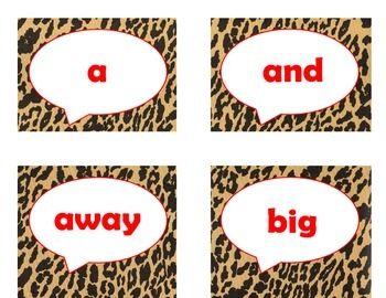 Dolch Pre-Primer Sight Word Flash Cards (Cheetah/Leopard with Red Lettering)