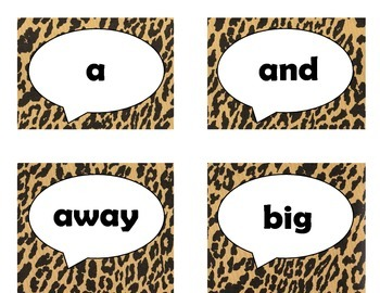 Dolch Pre-Primer Sight Word Flash Cards (Cheetah/Leopard with Black Lettering)