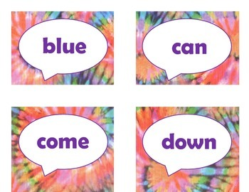 Dolch Pre-Primer Sight Word Flash Cards (Tie Dye with Purple Lettering)