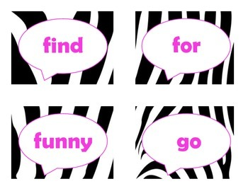 Dolch Pre-Primer Sight Word Flash Cards (Zebra with Hot Pink Lettering)