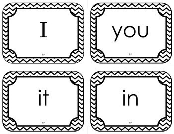 Dolch Pre-Primer Sight Word Flash Cards (with Chevron Frame)