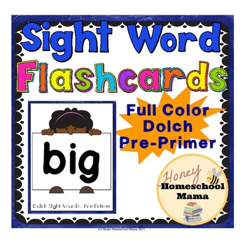 Dolch Pre-Primer Sight Word Flashcards - Full Color Set