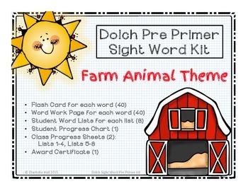 Dolch Pre Primer Sight Word Kit: Farm Animal Theme
