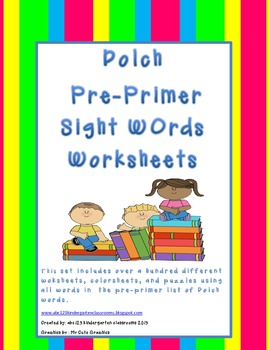 Dolch Pre-Primer Sight Word Packet