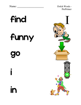 Dolch Pre-Primer Sight Word Picture Match