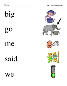 #2. Dolch Pre-Primer Sight Word Picture Match