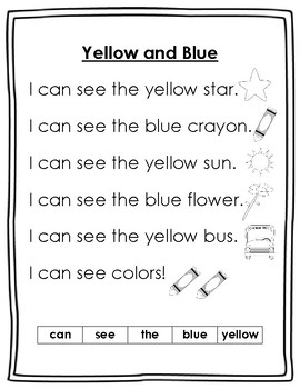 Dolch Pre-Primer Sight Word Poems