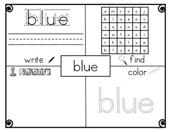 Dolch Pre-Primer Sight Word Practice Pages - Literacy Center - No Prep