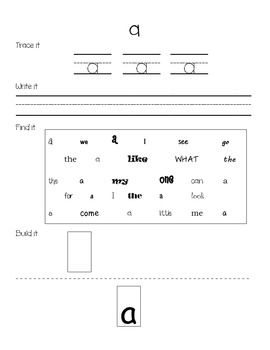 Dolch Pre-Primer Sight Word Practice Sheets