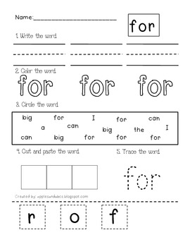 dolch pre primer sight word printables